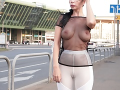 See-through outfit in public