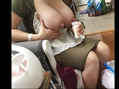 Huge tits squeezing out milk