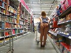 Naughty flashing shopping with butt plug