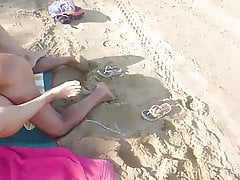 Wrinkly old man fucks young wife on beach